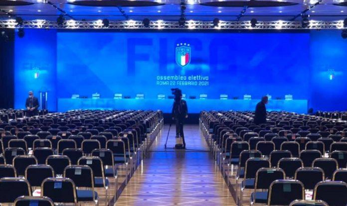La sala dove si svolge l'Assemblea per l'elezione del presidente FIGC